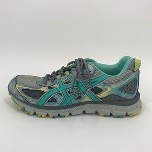 Asics 6.5 Gel-Scram 3 Teal Gray Blue Camo Sneakers